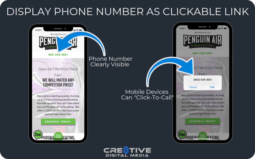 Example of a clickable phone number on a mobile-friendly website