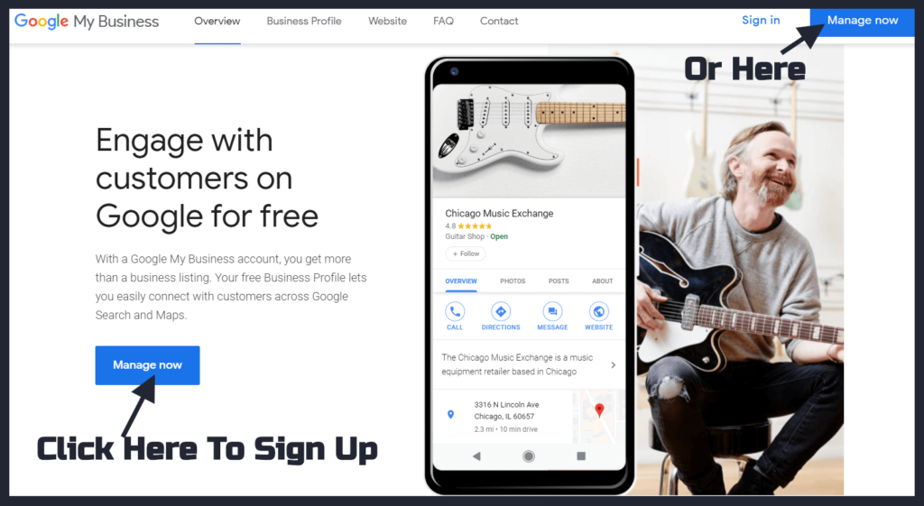 Google My Business Sign up page