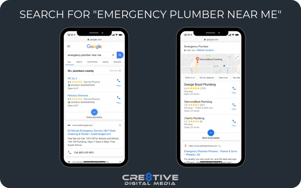 "Google Search For ""Emergency Plumber Near Me"""
