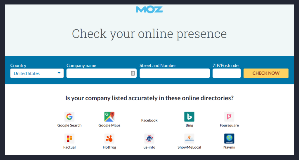 Moz Local Citation Checking Tool
