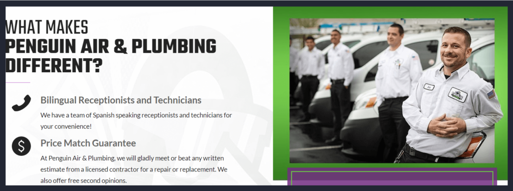 Pictures of plumbing company staff on homepage of website