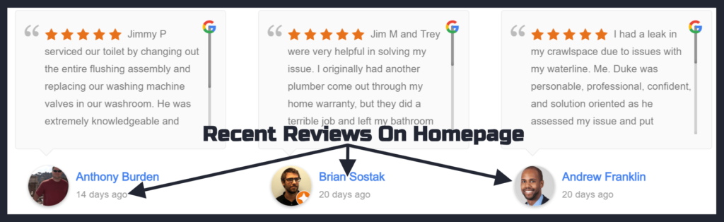 Recent Google Reviews being displayed on a homepage