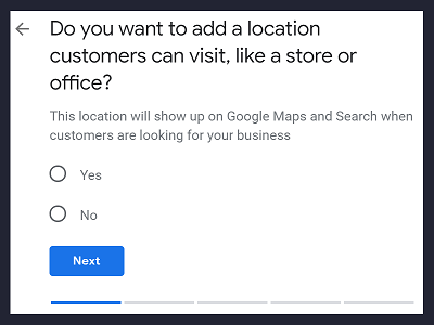 Step 2 GMB - Add a location customers can visit