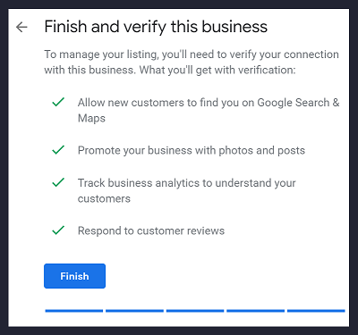 Step 8 GMB - Finish and Verify this business