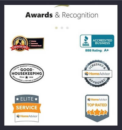 Industry-Specific Awards & Recognition on Roofing Website Homepage