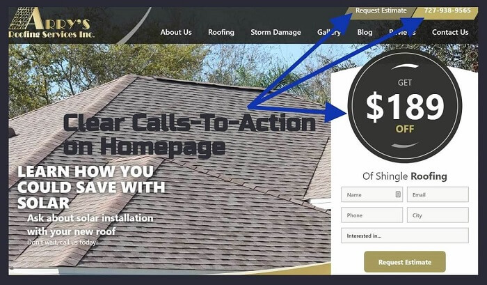 Use Clear Calls-To-Action on your roofing website