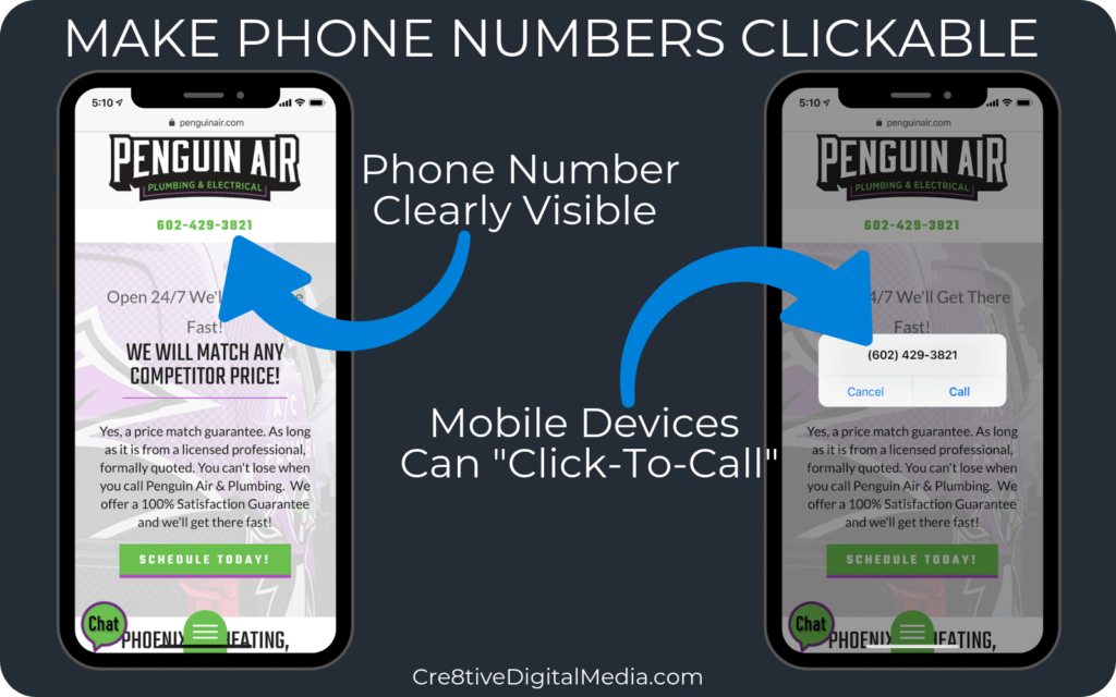 Display Phone Number as a clickable link
