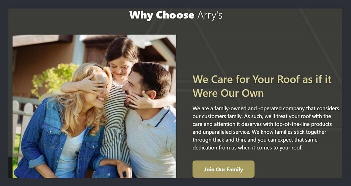 Picture of roofing company owner & family on homepage of website