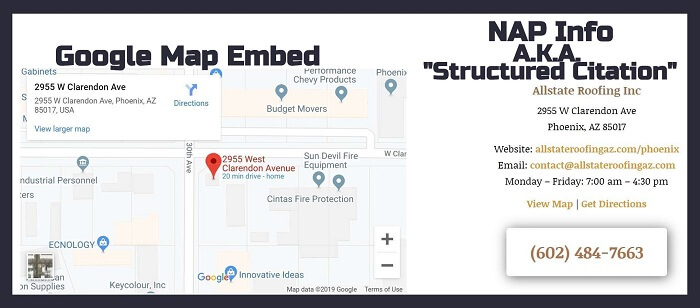 Google Map Embed & NAP Info in Website Footer