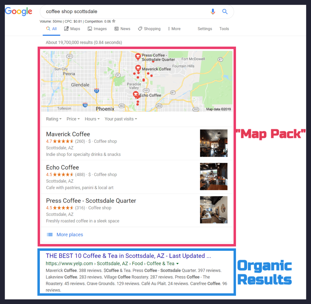 Google Map Pack & Organic Results