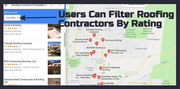 "Google Maps search for ""Roofing Contractor Scottsdale Arizona"""