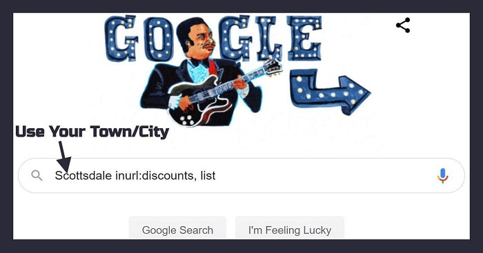 "Using Google Search Operator: ""City inurl:military, discount"""