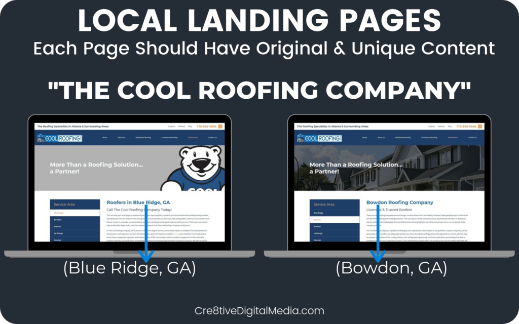 Service Area Pages on roofing website with unique content