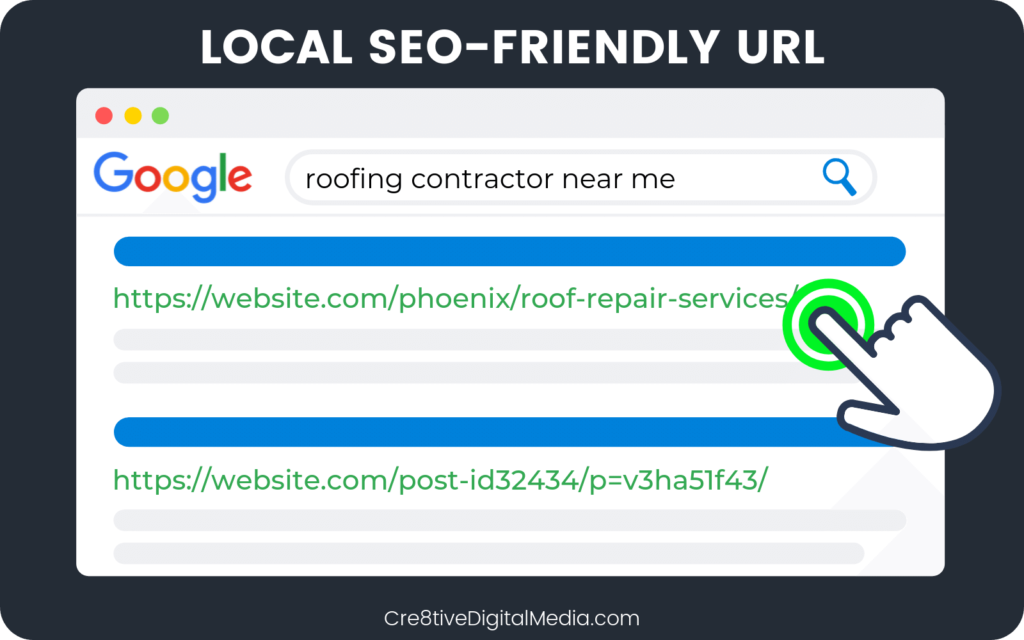 "Local SEO Friendly URL example for ""Phoenix Roof Repair Services"""