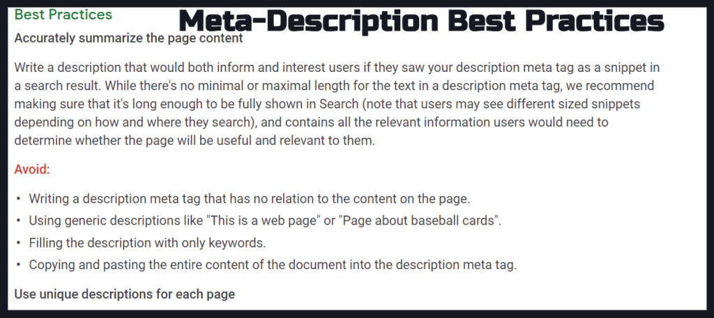 Meta-Description Best Practices from Google's SEO Guide