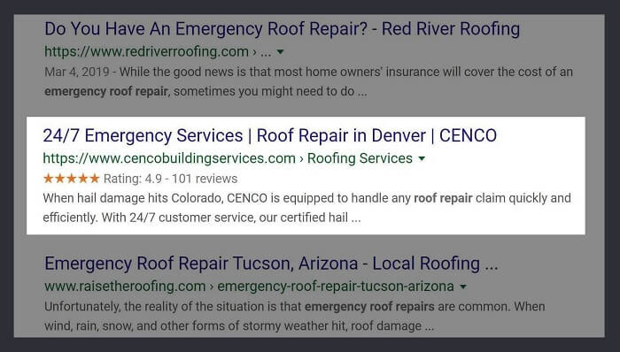 Roofing Website Snippet with Aggregate Review Rating In SERPS