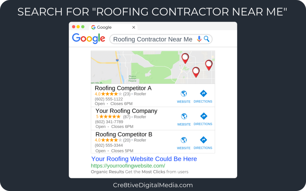 "Google search for ""Roofing Contractor Near Me"""