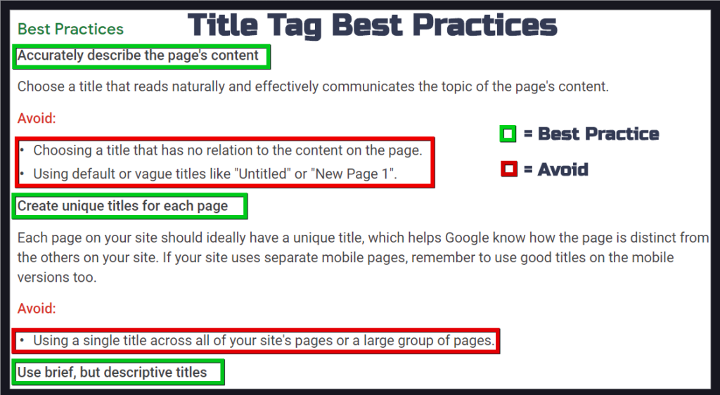 Title Tag Best Practices