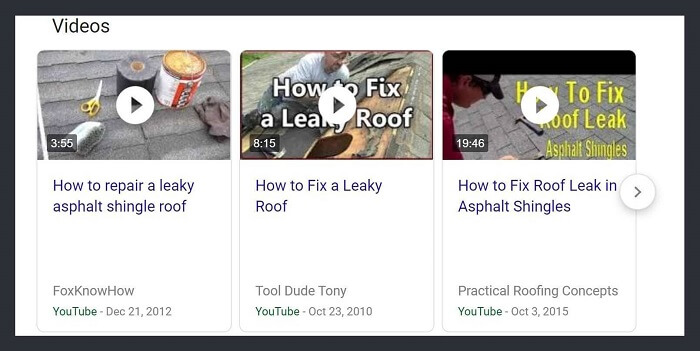 """How To Repair A Leaky Roof"" Video Rich Snippet in SERPs"