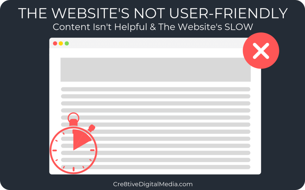 Website not user-friendly - Content isn't helpful & the site is slow