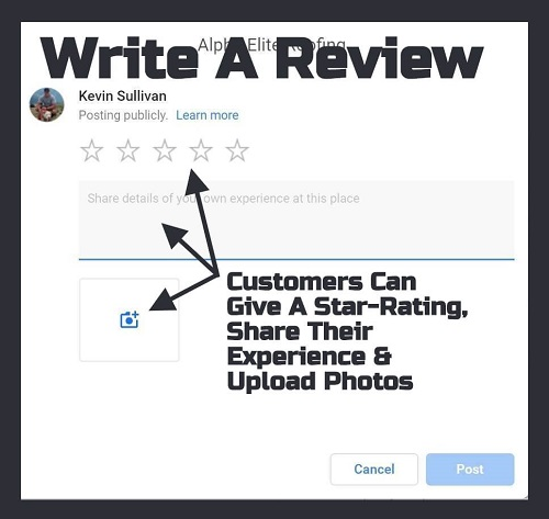 """Write a Review"" Popup for Alpha Elite Roofing"