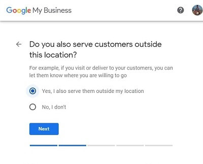Google My Business-Step 4-Do you serve customers outside this location?