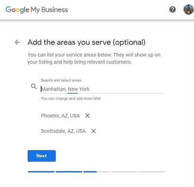 Google My Business-Step 5-Add the areas you serve