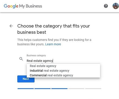 Google My Business-Step 6-Choose Category (i.e. Real Estate Agency)