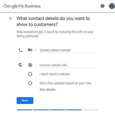 Google My Business-Step 7-What contact details do you want to show to customers?