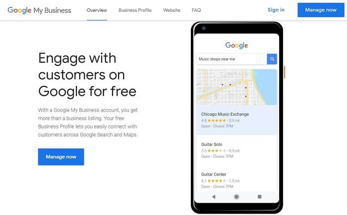 Google My Business-Sign up screen